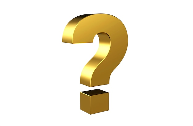 Signe de point d'interrogation 3d doré sur fond blanc