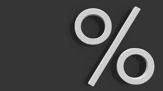 Signe pour cent sur un fond gris 3d