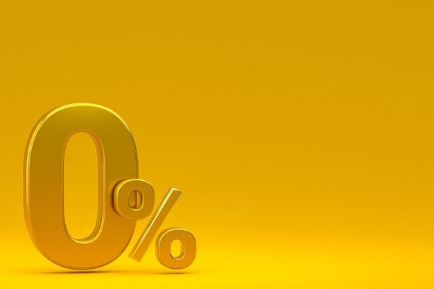Signe de pourcentage zéro et remise sur fond jaune avec taux d'offre spéciale. rendu 3d