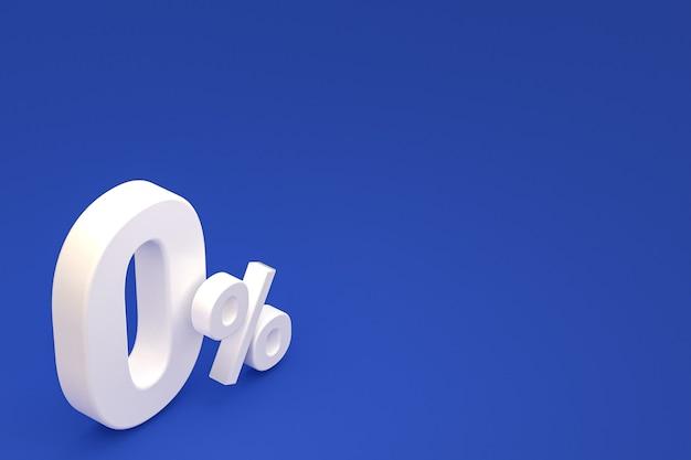 Signe de pourcentage zéro et remise de vente sur fond bleu avec taux d'offre spéciale. rendu 3d