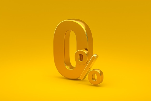 Signe de pourcentage zéro et remise de vente sur fond jaune avec taux d'offre spéciale. rendu 3d