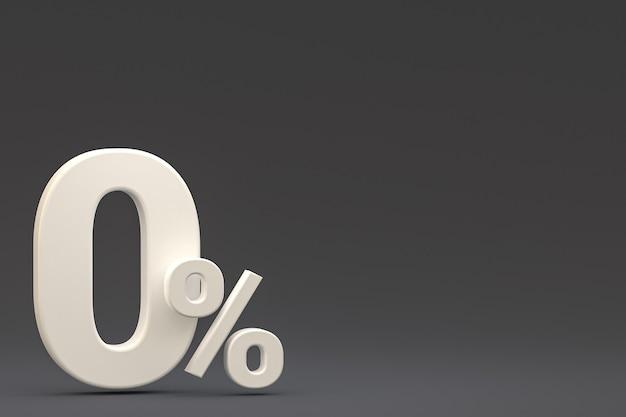 Signe de pourcentage zéro et remise de vente sur fond noir avec taux d'offre spéciale. rendu 3d
