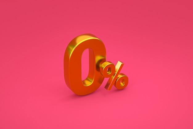 Signe de pourcentage zéro et remise de vente sur fond rose avec taux d'offre spéciale. rendu 3d