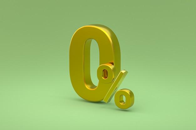 Signe de pourcentage zéro et remise de vente sur fond vert avec taux d'offre spéciale. rendu 3d