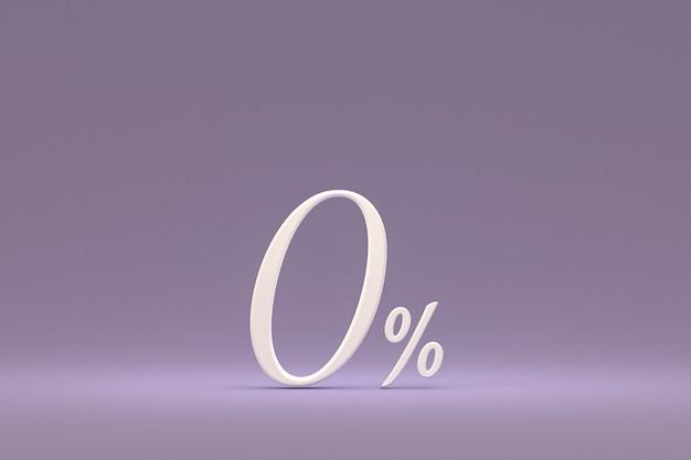 Signe de pourcentage zéro et remise de vente sur fond violet avec taux d'offre spéciale. rendu 3d