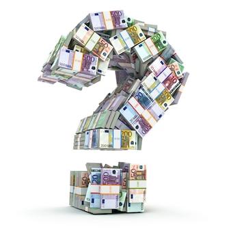 Signe de question de packs d'euro isolé sur blanc où investir de l'argent concept 3d