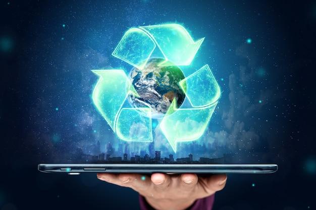 Signe de recyclage sur le fond du globe