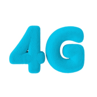 Signe de réseau 4g comme fourrure bleue sur fond blanc. rendu 3d
