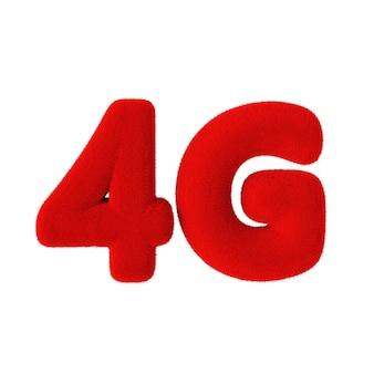 Signe de réseau 4g comme fourrure rouge sur fond blanc. rendu 3d
