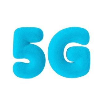Signe de réseau 5g en tant que fourrure bleue sur fond blanc. rendu 3d