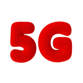 Signe de réseau 5g en tant que fourrure rouge sur fond blanc. rendu 3d