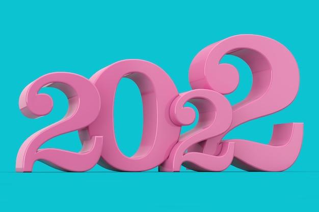 Signe rose du nouvel an 2022 en style bicolore sur fond bleu. rendu 3d