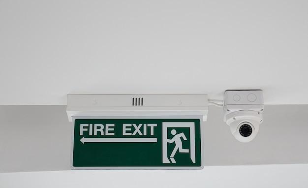 Signe de sortie de secours et sécurité de la caméra de vidéosurveillance