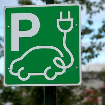Signe de stationnement de voiture électrique