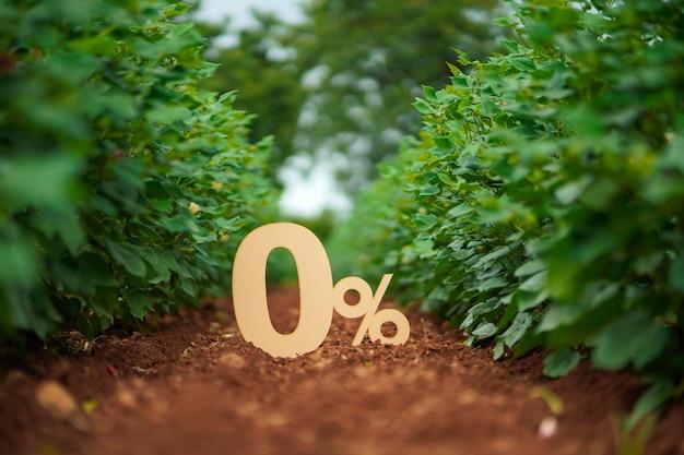 Signe ou symbole de zéro pour cent sur fond de nature.