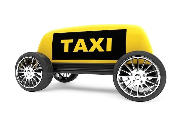 Signe de taxi sur des roues sur fond blanc