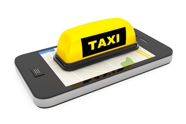 Signe de taxi avec téléphone portable et carte sur fond blanc