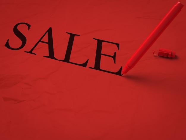 Signe de vente sur fond rouge