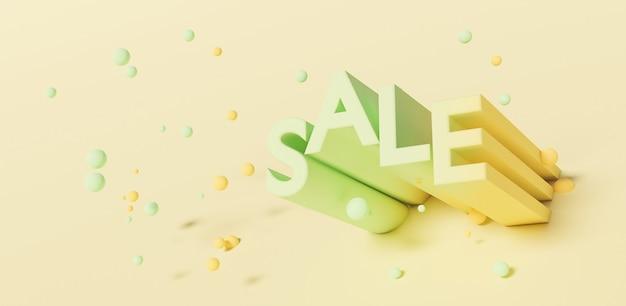 Signe de vente avec des sphères suspendues autour d'elle avec une surface pastel