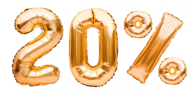 Signe de vingt pour cent d'or fait de ballons gonflables isolés sur blanc. ballons à l'hélium, numéros en feuille d'or. décoration de vente, 20% de réduction