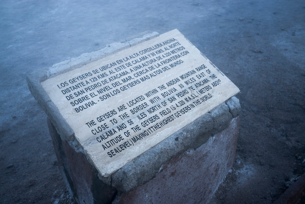 Signer à el tatio geyser, san pedro d'atacama, province d'el loa, région d'antofagasta, chili