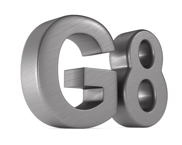 Signer le groupe g8 sur l'espace blanc