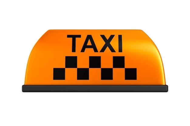 Signer un taxi sur un espace blanc. image 3d isolée