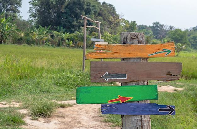 Signes en bois peints sur des poteaux arrière-plan des champs et des arbres.