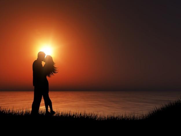 Silhouette 3d d'un couple s'embrassant contre un paysage océanique au coucher du soleil