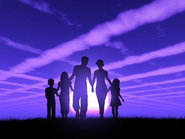 Silhouette 3d d'une famille marchant sur un ciel coucher de soleil