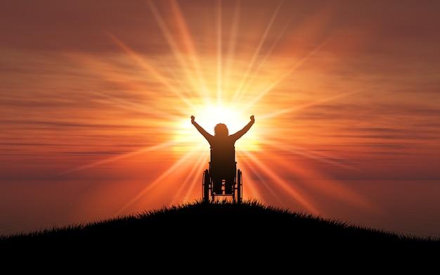 Silhouette 3d d'une femme en fauteuil roulant, les bras levés contre un coucher de soleil sur l'océan