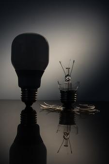 Silhouette de bulbe économique debout à côté d'une ampoule d'éclairage cassée