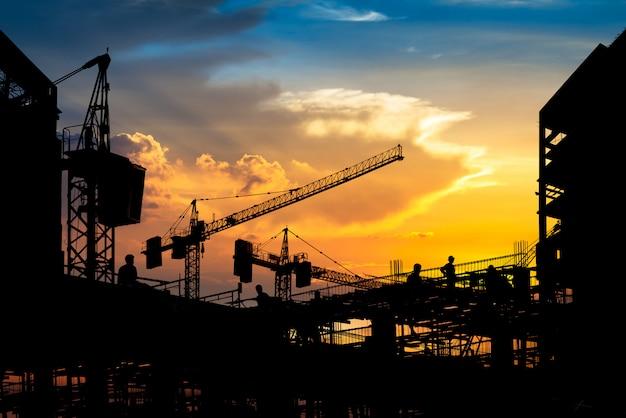 Silhouette de chantier de construction