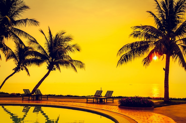 Silhouette cocotier avec piscine