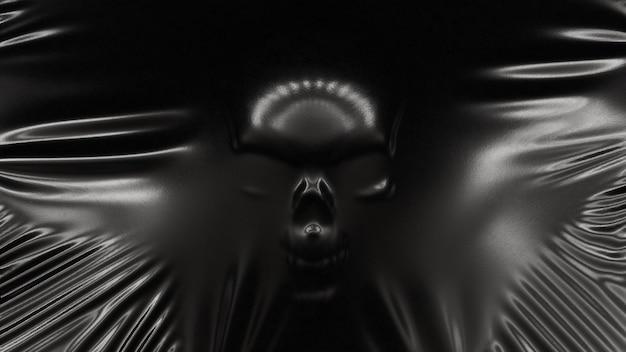 La silhouette d'un crâne humain s'étend en latex noir