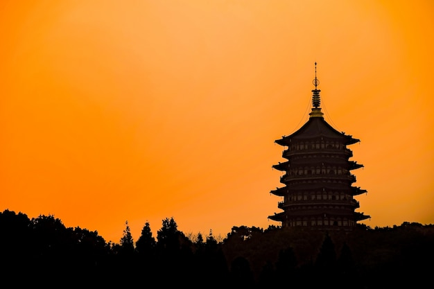 Silhouette du bâtiment oriental avec ciel orange