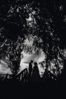 Silhouette du couple mariée et le marié le jour du mariage