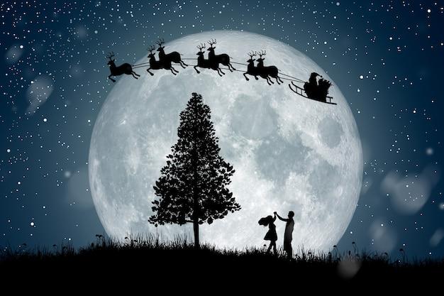 Silhouette du père noël sur les rennes sur la pleine lune la nuit noël profitant de la danse en couple