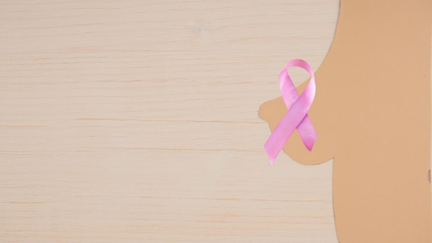 Silhouette du sein d'une femme avec un ruban de sensibilisation au cancer du sein
