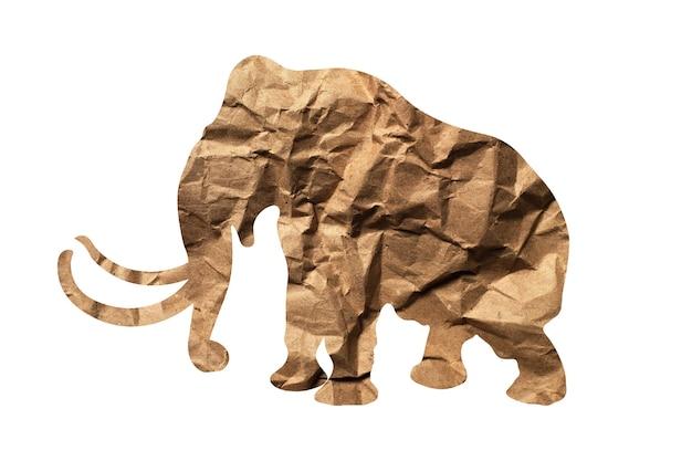 Silhouette d'un éléphant de papier d'emballage isolé sur fond blanc