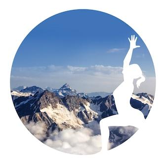 Silhouette d'une femme pratiquant le yoga sur un fond de montagne en cercle