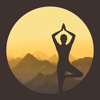 Silhouette d'une femme pratiquant le yoga sur une montagne en cercle