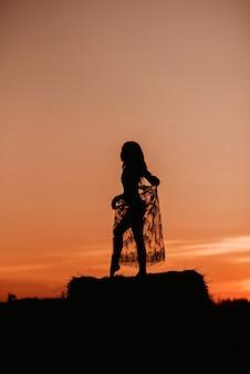 Silhouette d'une fille nue sexy en sous-vêtements dans un champ en été au coucher du soleil dans la nature sur une botte de foin. ajout de l'effet d'un petit grain de film