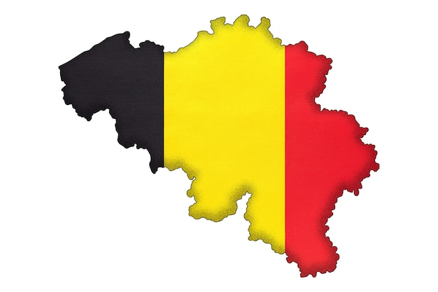 Silhouette de frontière belgique avec drapeau national avec espace de copie. signe officiel belge, cartographie.