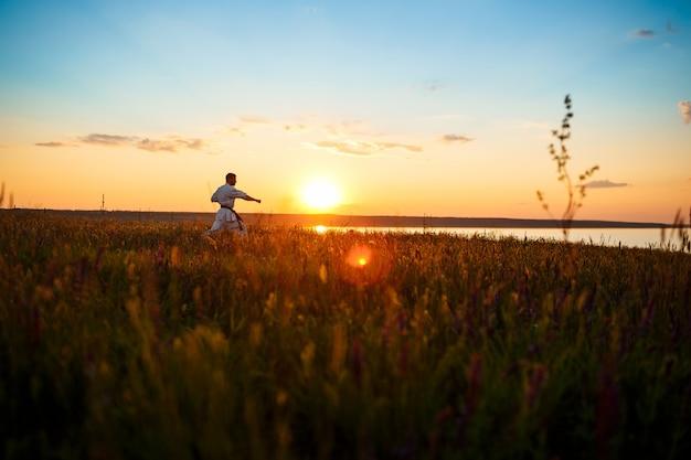 Silhouette d'homme sportif, formation de karaté dans le champ au lever du soleil.