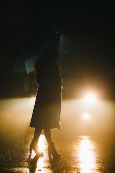La silhouette de la jeune fille marchant avec un parapluie par temps pluvieux et brumeux