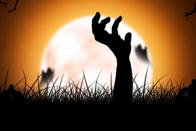Silhouette de main de zombie soulevée du sol avec fond de pleine lune
