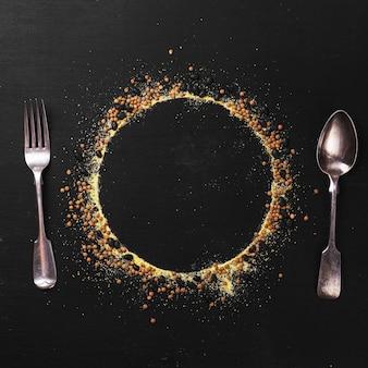 Silhouette de plat et vaisselle