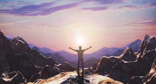 Silhouette de randonneur homme libre bras ouverts au bord de la falaise en haut