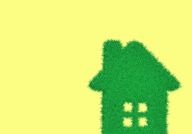 Silhouette de rendu 3d d'une maison d'une herbe verte avec windows